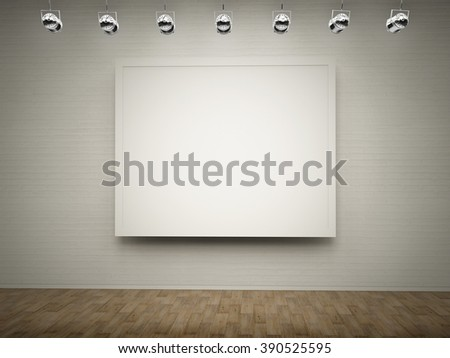 blank white frame hanging on wall