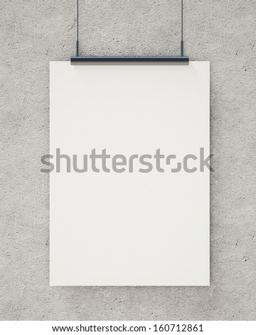 blank white hanging poster on concrete wall, background - stock photo