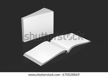 Blank white horizontal soft cover books open and standing on black background. Isolated with clipping path around each book. 3d illustration