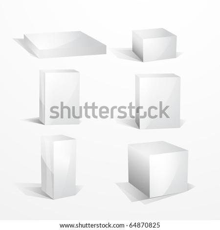 Blank white icon boxes - stock photo