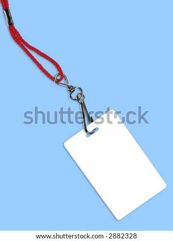Blank white ID card / badge with copy space, on blue background. Contains clipping path of the card (without neckband) to change the color of the card. - stock photo