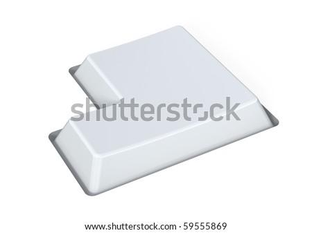 Blank white key - enter - stock photo
