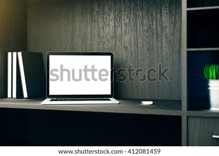 Blank white laptop on cupboard shelf. Mock up, 3D Rendering - stock photo
