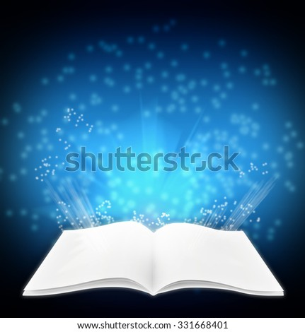 Blank white magazine on a dark blue background with rays and shine.