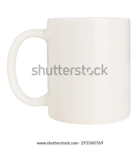 Blank white mug isolated on white background - stock photo