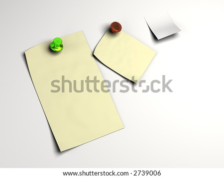 Blank white note pinned in high resolution and isolated background. Text can easily be added. - stock photo