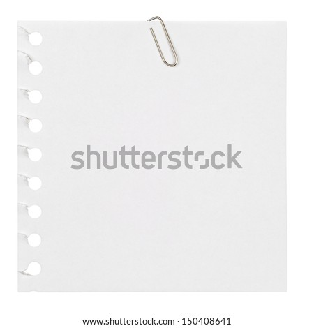 blank white notebook paper with paper clip on white background.