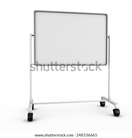 Blank white office board isolated on white background. 3d render image. - stock photo