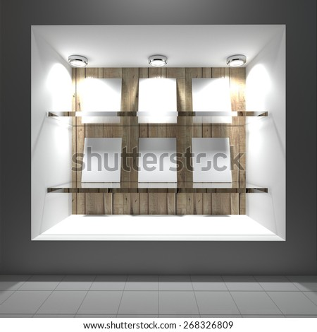 blank white on glass shelf with wooden and white wall - stock photo