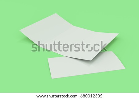 Blank white open three fold brochure mockup on green background. Open and closed leaflet or booklet template. 3D rendering illustration
