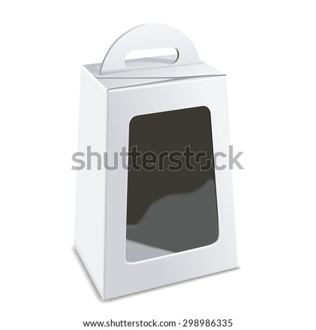 blank white package box with plastic window isolated on white background - stock photo
