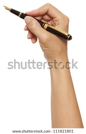 Blank white paper and pen in hand for signature - stock photo