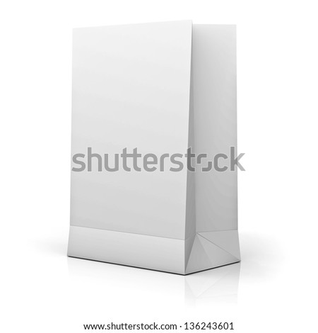 Blank White Paper Bag isolated over white background with reflection - stock photo