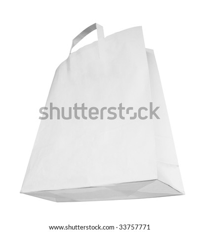 Blank white paper bag, special perspective, isolated on white background,free copy space - stock photo