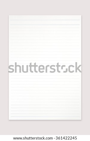 Blank white paper note and line on office table