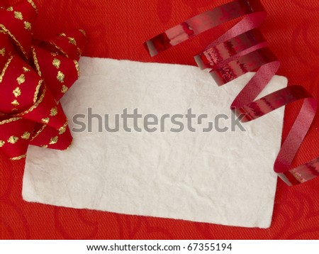 blank white paper note in the red arrangement