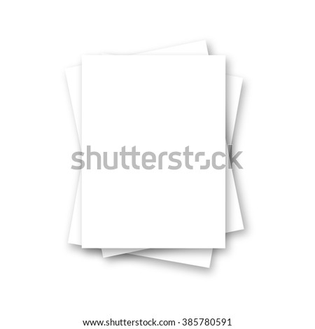 Blank white paper on white background. Magazine, booklet, postcard, flyer, business card or brochure mockup.  - stock photo