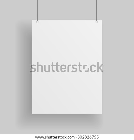 Blank white paper Page hanging against grey Background. Empty white paper Mockup - stock photo