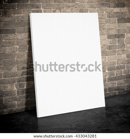 Blank white paper poster on the grunge brick wall and black cement floor,Mock up to display or montage of your content