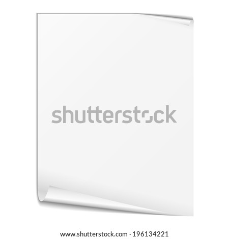 Blank white paper sheet on white background