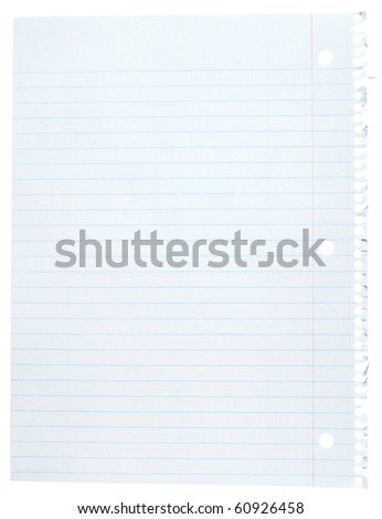 Blank white paper sheet with blue lines - stock photo