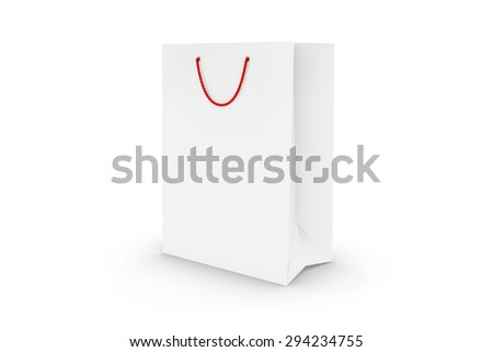 Blank White Paper Shopping Bag Isolated on White