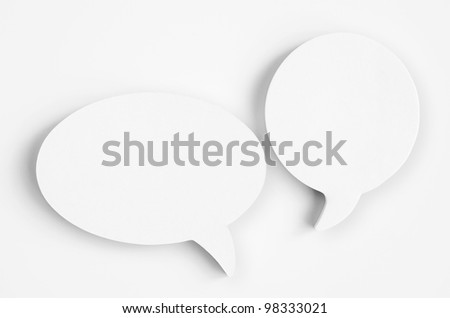 Blank white paper speech bubbles of cartoon and comics over white background - stock photo
