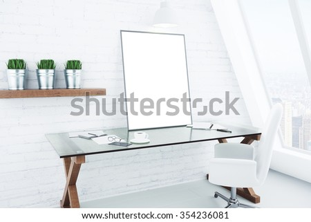 Blank white picture frame on glassy table in modern white style room, mock up 3D Render - stock photo
