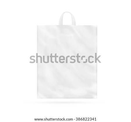Blank white plastic bag with handle mock up isolated. Empty white polyethylene package mockup. Consumer pack ready for logo design or identity presentation. Commercial product food packet handle.