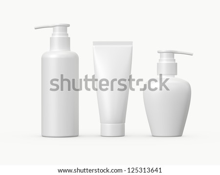 Blank white plastic cosmetic products template, isolated on white background. - stock photo