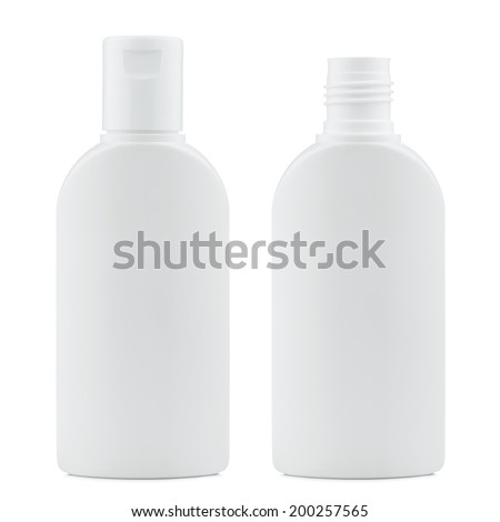 Blank white plastic cosmetics, shampoo or gel bottle, closed and open, isolated on white background - stock photo