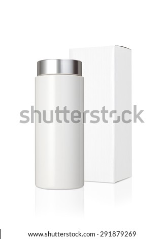 Blank white plastic medicine bottle and blank paper package box isolated on white background - stock photo
