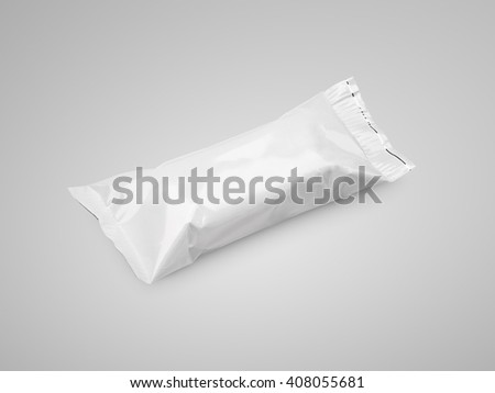 Blank white plastic pouch snack packaging on gray background - stock photo