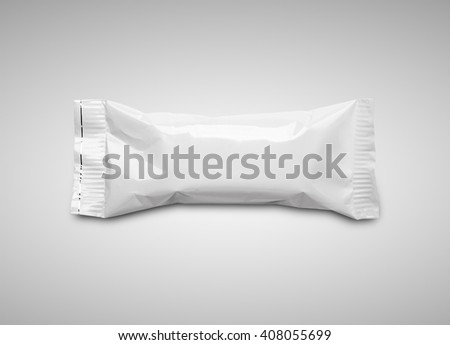 Blank white plastic pouch snack packaging on gray background
