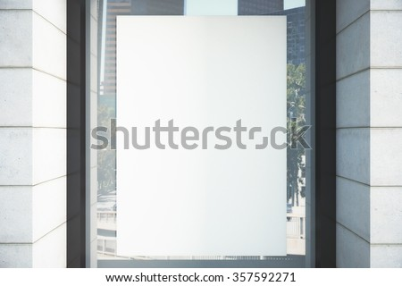 Blank white poster on the window, mock up - stock photo