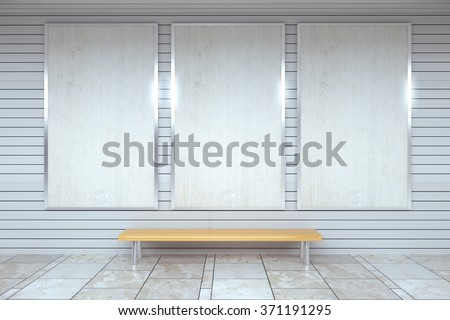 Blank white posters on the wall in empty subway with wooden bench on the floor, mock up 3D Render - stock photo