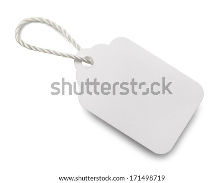 Blank White Price Tag Isolated on White Background. - stock photo