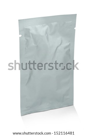 blank white product packaging on white background.