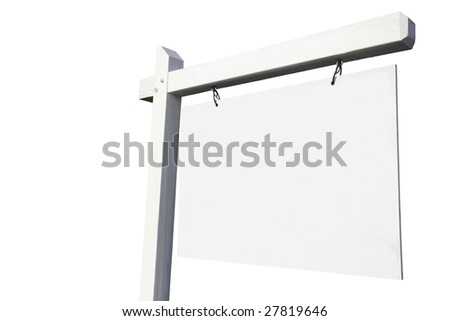 Blank White Real Estate Sign Ready for Your Own Message. - stock photo