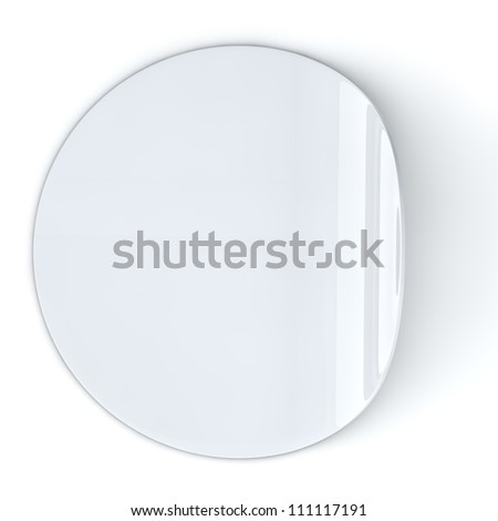 Blank white round sticker with curled edge. - stock photo