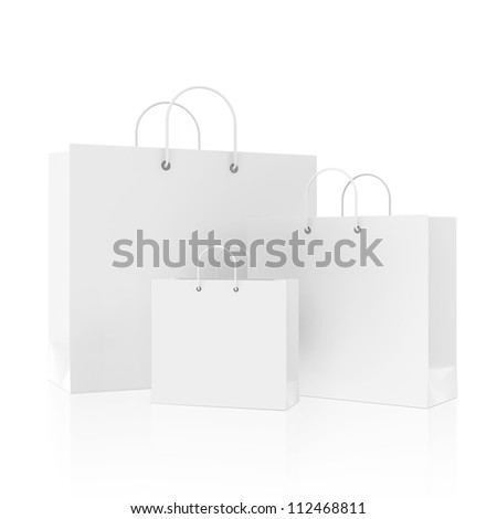 Blank White Shopping Bags isolated on white background - stock photo