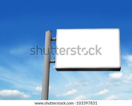 blank white sign board in blue sky background - stock photo