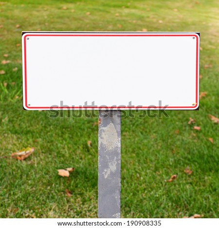 Blank white sign - put your text here - stock photo