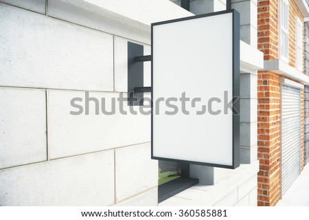 Blank white signboard on the wall outdoor, mock up - stock photo