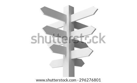 Blank white signpost isolated on white background - stock photo