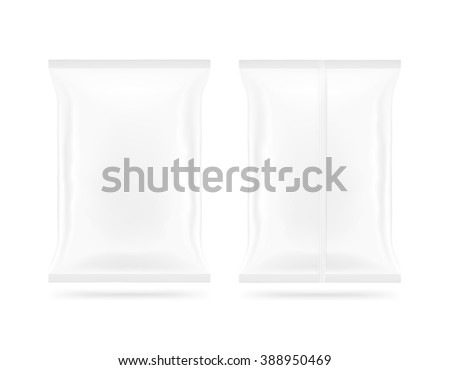 Blank white snack plastic bag mock up package front and back side isolated. Clear white chips pack mockup. Cookie, candy, sugar, cracker, nuts, jujube supermarket foil plastic frozen container packet. - stock photo