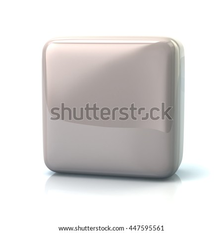 Blank white square button isolated on white background