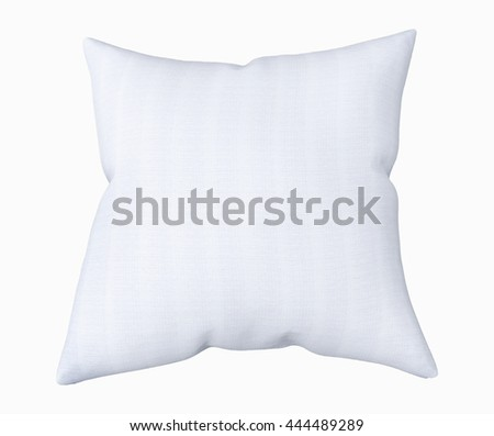 Blank white square pillow, isolated on white background. Mockup, 3D illustration - stock photo