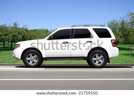 Blank white SUV - stock photo