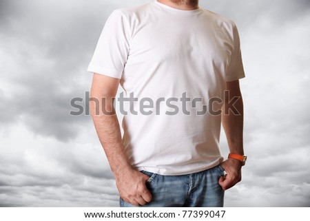 Blank white t-shirt - stock photo